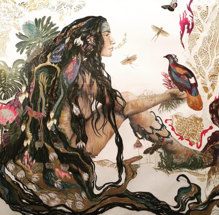 Shilo's Mahadevi, a 12th century female mystic poet who wandered naked through the forest singing songs about the body, nature, and jasmine flowers. From her 2015 show 'Beloved'.